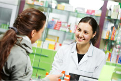 girl talking with a pharmacist